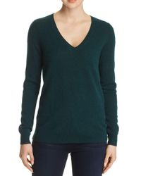 C By Bloomingdale's - Green V-neck Cashmere Sweater - Lyst