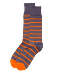 Paul Smith - Orange Neon Stripe Socks for Men - Lyst