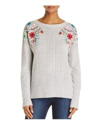 Aqua - Gray Embroidered High/low Sweater - Lyst