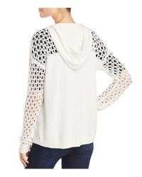 Aqua - White Crochet-detail Hooded Sweater - Lyst