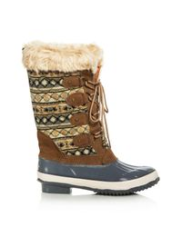 Khombu - Brown Andie Quilted Cold Weather Boots - Lyst