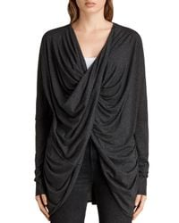 AllSaints - Gray Itat Jersey Shrug - Lyst