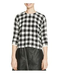 Maje - Black Max Gingham Sweater - Lyst