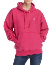 Champion - Pink Reverse Weave Hooded Sweatshirt - Lyst