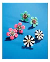 Kate Spade - Black Flower Stud Earrings - Lyst