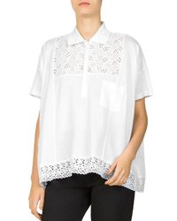 The Kooples - White Piquet Jersey & Lace T-shirt - Lyst