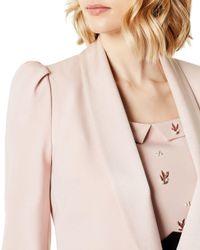 Karen Millen Pink Puff-sleeve Cropped Tuxedo Jacket