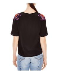 Sandro - Black Vibration Embellished Silk Top - Lyst