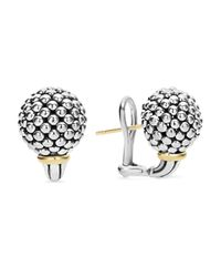 Lagos - Metallic Sterling Silver Small Caviar Bead Stud Earrings With 18k Gold - Lyst