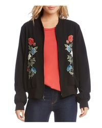 Karen Kane | Black Floral Embroidered Bomber Jacket | Lyst