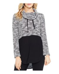 Vince Camuto - Black Space-dyed Mixed Media Top - Lyst
