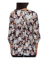 B Collection By Bobeau - Multicolor Cristy Floral-print Pleat-back Top - Lyst
