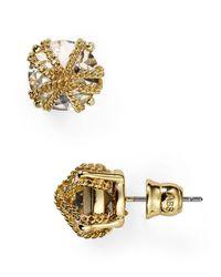 ABS By Allen Schwartz - Metallic Chain Wrapped Stud Earrings - Lyst