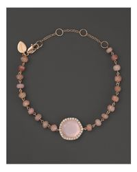 Meira T | 14k Rose Gold Rose Quartz And Pink Opal Bead Bracelet With Diamonds | Lyst