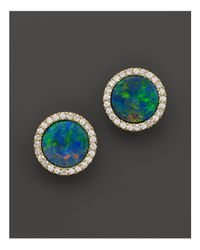 Meira T | 14k Yellow Gold Blue Opal And Diamond Stud Earrings | Lyst