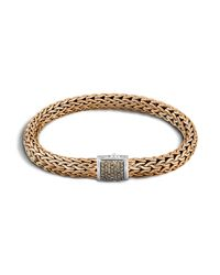 John Hardy | Men's Classic Chain Sterling Silver And Bronze Medium Chain Bracelet With Brown Pave Diamonds for Men | Lyst