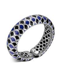 John Hardy - Naga Sterling Silver Blue And Black Enamel Scale Cuff - Lyst