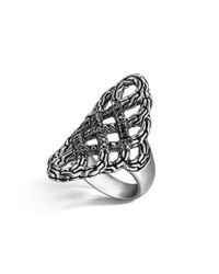 John Hardy | Metallic Classic Chain Silver Lava Large Saddle Ring With Black Sapphire - 100% Exclusive | Lyst