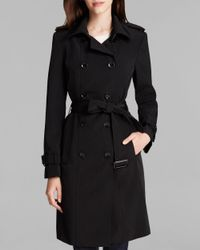 Calvin Klein | Black Trench Coat - Double Breasted Belted | Lyst