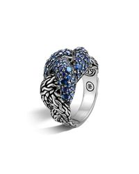 John Hardy - Classic Chain Sterling Silver Lava Small Braided Ring With Blue Sapphires - Lyst