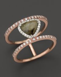 Meira T | Green 14k Rose Gold Triangular Labradorite Two-tiered Ring With Diamonds | Lyst