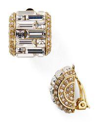 Carolee   Metallic Crystal Baguette Huggie Clip On Earrings   Lyst