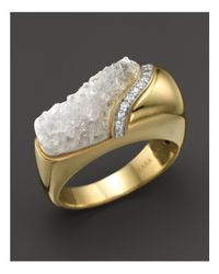 Kara Ross - Metallic 18k Yellow Gold And Diamond Wide Hydra Stacking Ring With Raw White Quartz - Lyst