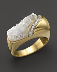 Kara Ross | Metallic 18k Yellow Gold And Diamond Wide Hydra Stacking Ring With Raw White Quartz | Lyst