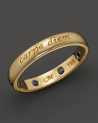 "Monica Rich Kosann | Metallic 18k Yellow Gold ""carpe Diem"" Posey Ring With Sapphires | Lyst"