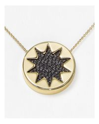 "House of Harlow 1960 - Black Mini Sunburst Pendant Necklace, 16"" - Lyst"