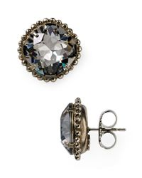 Sorrelli   Gray Round Crystal Stud Earrings   Lyst