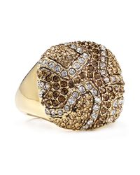 ABS By Allen Schwartz - Metallic Pave Square Ring - Lyst