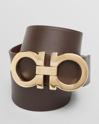 Ferragamo | Brown Leather Double-gancini Power Buckle Belt for Men | Lyst