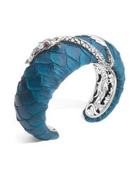 John Hardy - Blue Naga Silver Medium Squeeze Cuff With Turquoise Color Exotic Skin With African Ruby Eyes - Lyst