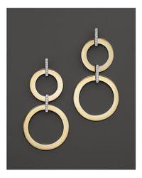 Roberto Coin | Metallic 18k Yellow And White Gold Diamond Round Drop Earrings | Lyst