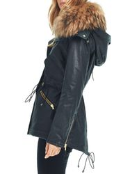 Sam. - Multicolor Devon Fur Trim Short Parka - Lyst