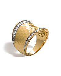 John Hardy | Metallic Palu 18k Gold & Diamond Pave Small Saddle Ring, .27 Ct. T.w. | Lyst