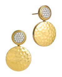 John Hardy   Metallic Palu 18k Gold & Diamond Pave Double Drop Earrings, .28 Ct. T.w.   Lyst