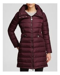 Moncler | Purple Flammette Down Coat With Stowable Hood | Lyst