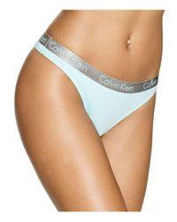 Calvin Klein | Blue Radiant Cotton Thong #qd3539 | Lyst