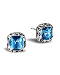 John Hardy | Classic Chain Stud Earrings With London Blue Topaz | Lyst