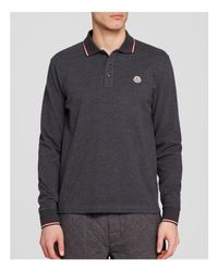 Moncler - Gray Tipped Long-sleeve Polo Shirt for Men - Lyst