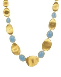 Marco Bicego | Metallic 18k Yellow Gold Lunaria Collar Necklace With Aquamarine, 18"
