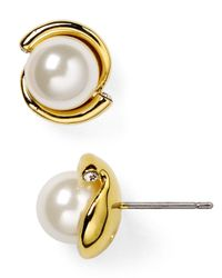 kate spade new york - Natural Dainty Sparkler Faux Pearl Stud Earrings - Lyst