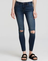 Free People | Blue Destroyed Skinny Jeans In Josie Wash | Lyst