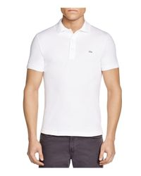 Lacoste - White Stretch Slim Fit Polo for Men - Lyst
