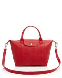 Longchamp - Red Le Pliage Small Leather Satchel - Lyst
