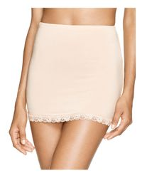 Hanky Panky - Natural Silky Fitted Lace Trim Half Slip - Lyst