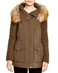 DKNY | Green Faux Fur Trim Hooded Anorak | Lyst