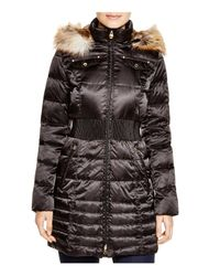 Laundry by Shelli Segal | Black Cinched-waist Coat With Faux-fur Trim | Lyst